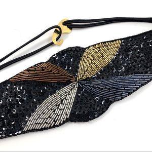 Vintage hand made glass bead + sequence belt MILOR